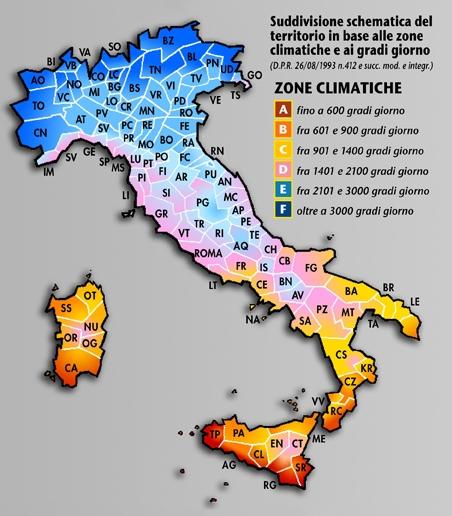 Italia Climatica Cartina.Zone Climatiche E Gg Secondo Il Dpr 412 93 Contabilizzazione Calore Per Arezzo Siena Firenze Perugia Pesaro E Urbino